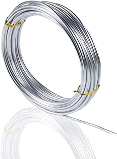 Silver Aluminum Wire, Aunifun 32.8 Feet Silver Aluminum Wire, Bendable Metal Craft Wire for Making Dolls Skeleton DIY Crafts (3mm Thickness)