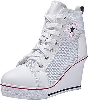 Padgene Women's Sneaker High-Heeled Fashion Canvas Shoes...