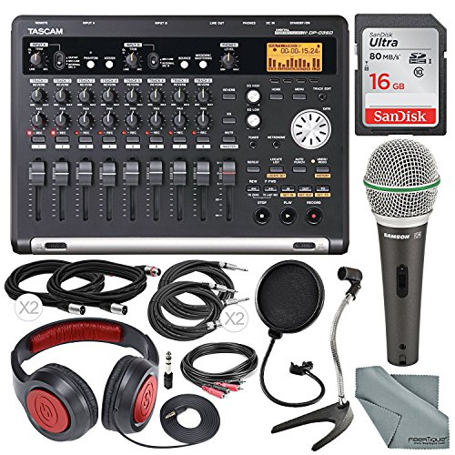 Tascam DP-03SD 8-Track Digital Recorder and Deluxe Accessory Bundle W/ Q4 Microphone, Samson Headphones, Cables, Desktop Mic Stand, 16GB Card, FiberTique Cleaning Cloth, and More
