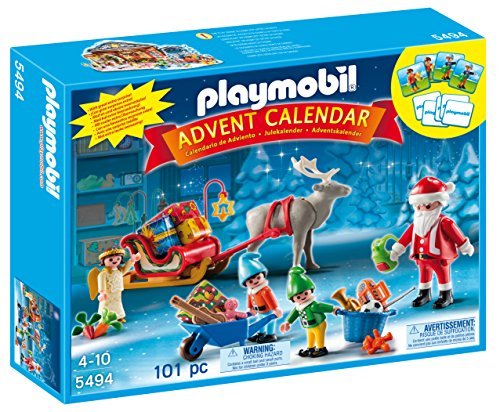 PLAYMOBIL - Calendario de Adviento Calendario de Navidad con Papá Noel Playsets de Figuras de jugete, Color Multicolor (5494)