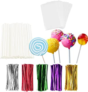 TAIHUIMY 360Pcs 6inch Lollipop Sticks, Cake Pop Lollipops, Chocolates and Cookies Bag Set Including 120 Parcel Bags, 120 P...