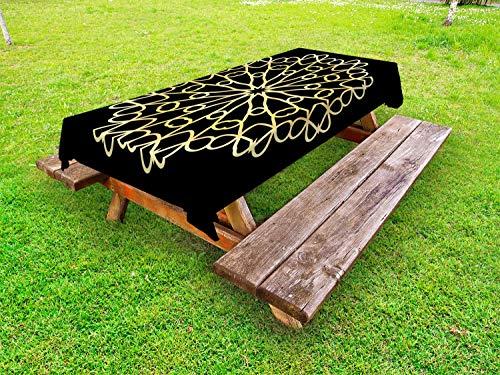 ABAKUHAUS Mandala Tafelkleed voor Buitengebruik, Abstracte Moderne Concept, Decoratief Wasbaar Tafelkleed voor Picknicktafel, 58 x 104 cm, zwarte Mosterd