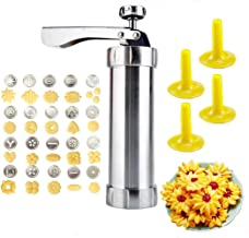 YOOUSOO Cookie Maker Cookie Press Gun, Kit Stainless Steel Biscuit Press Maker (with 20 Disc and 4 Nozzles) Homemade Bakin...