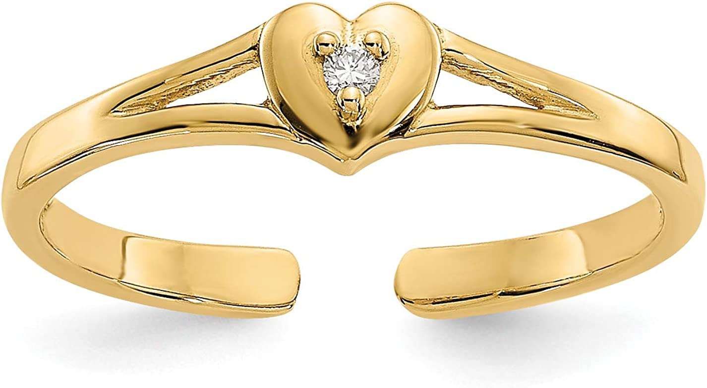 14k Yellow Gold Diamond Heart Split Shank Toe Ring (0.01 cttw, I1 Clarity, H-I Color)