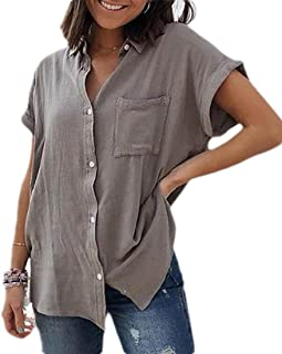 MK988 Womens Solid Color Button Up Plus Size Short Sleeve Shirt Blouse Tops