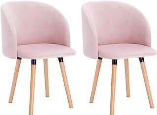 WOLTU 2X Sillas de Comedor Nordicas Estilo Vintage Dining Chairs Juego de 2 Sillas de Cocina Tulip Sillas Tapizadas en Ter...
