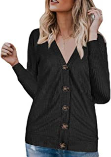 Womens V-Neck Waffle Buttoned Knit Long-Sleeves Loose Cardigan