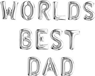 مجموعة بالون من رقائق الألومنيوم يوم الأب السعيد 16 بوصة لتزيين البالونات لحفلات عيد أبعد (أفضل بابا - فضي في العالم)