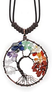 FRD.2Y Tree of Life Pendant Necklace,Amethyst Rose Crystal Necklace Gemstone Chakra Jewelry