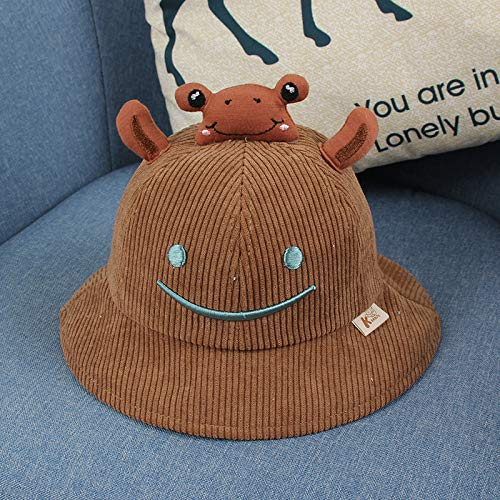 Fashion items Children's fisherman hat autumn and winter corduroy cute cartoon embroidery frog pot hat baby hat spring and autumn fashion beanie