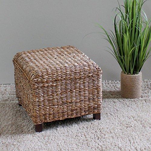 International Caravan Furniture Piece Arizona Abaca Square Cushioned Top Stool