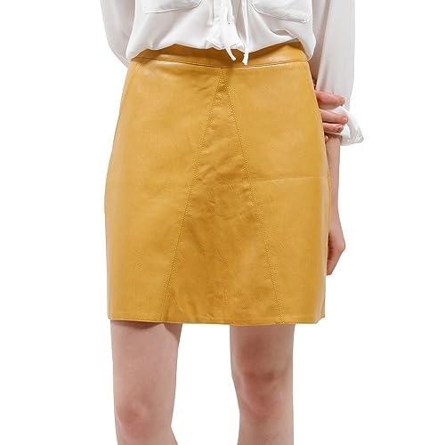 e9db65a4 BELLA PHILOSOPHY Women's Leather Skirt PU Faux High Waist Back Zipper  Pockets