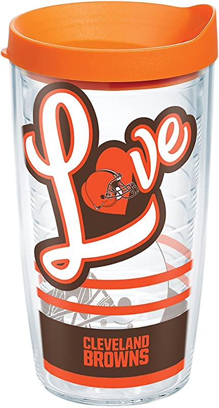 Tervis 1280531 NFL Cleveland Browns Love Tumbler With Wrap And Orange Lid 16oz Clear