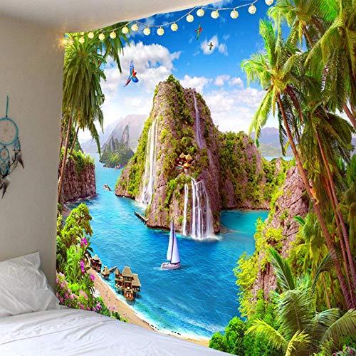MZW Hippie Wandteppich Mediterranes Dekor Blauer Himmel Wasserfall Insel Kokospalme Wandbehang Stoff Carpe, B90cmxH75cm