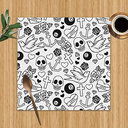 Hearts Roses Sculls Rockabilly Washable Placemats for Dining Table Double Fabric Printing Polyester Place Mats for Kitchen Table Set of 6 Table Mat 12
