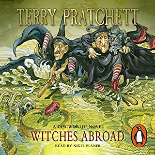 Witches Abroad     Discworld, Book 12              By:                                                                                                                                 Terry Pratchett                               Narrated by:                                                                                                                                 Tony Robinson                      Length: 3 hrs and 10 mins     101 ratings     Overall 4.3