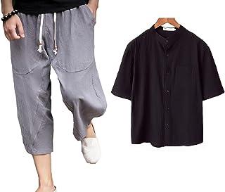 メンズ 半袖シャツ 七分丈 パンツ 上下セット ルームウェア 部屋着 開襟シャツ 綿麻 リネン 快適 通気 ジャージ P1085