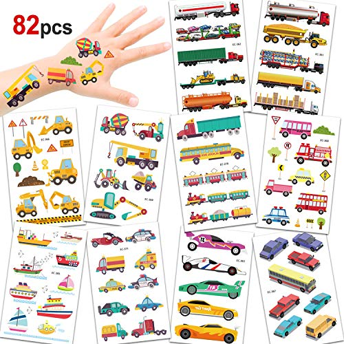 HOWAF Temporary Tattoo for Kids 10 sheets 82pcs Car Transport Fake Tattoo Stickers for Children Girls Boys Party Favors Kids Birthday Party Bag Filler
