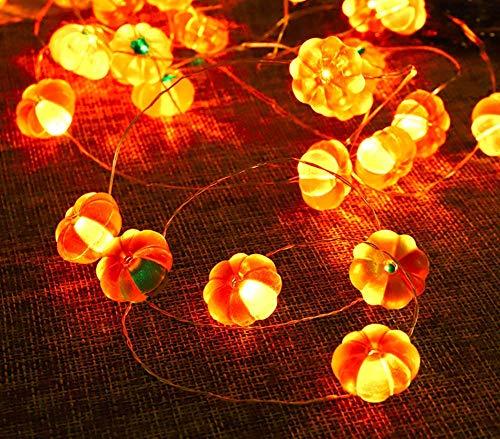 JIANMIN Decoraciones para el hogar Luces de cadena de hadas, 3M 30LED Pascua Decoración Cadena de luces de alambre de cobre Cadena de luces de calabaza con pilas