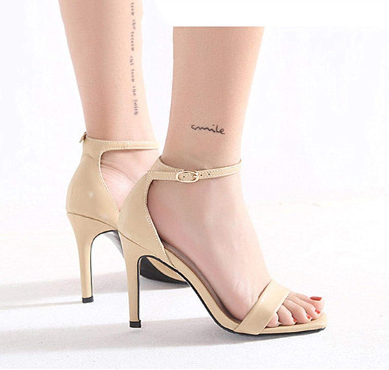 Summer Gladiator Sandals Women Black PU Leather High Heels