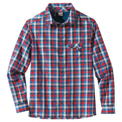 Jack Wolfskin faro Chemise à Manches Longues pour Homme M Rouge - Bleu à Carreaux