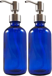 8-Ounce Cobalt Blue Glass Bottles w/Stainless Steel Pumps (2 pack), Boston Round Bottles for Essential Oils, Lotions and Liquid Soap