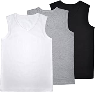 JISEN Men's V Neck Sleeveless Elastic Modal Cotton Tank Tops Sports T-Shirt