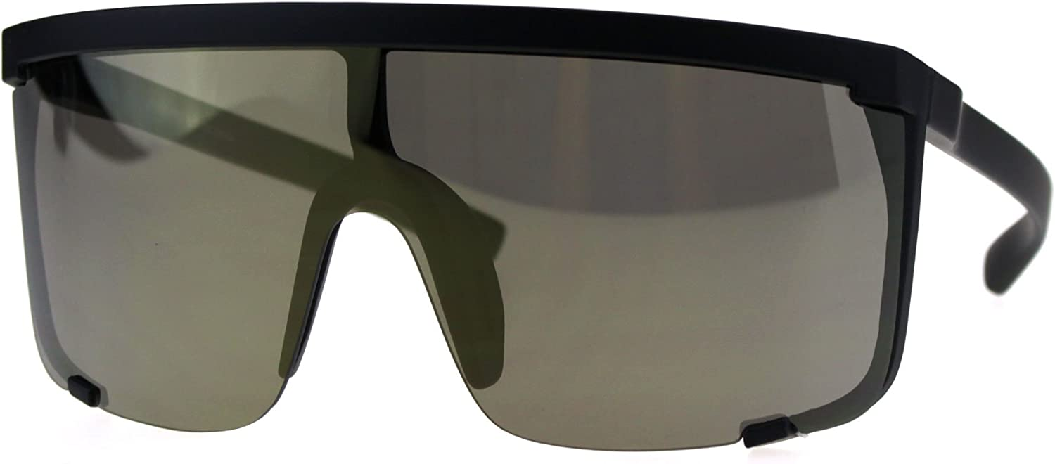 67% OFF of fixed price Oversize Flat Top Shield Exposed Su Color Max 40% OFF Mirror Reflective Lens