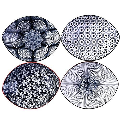 Porcelain Dinner Plates set of 4, 8 Inch Large Serving Plate Set, Assorted Blue White Patterns, Ship Ceramic Plates Serving for Fruit Salad Dish