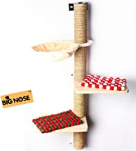 BIG NOSE- Wall Mounted Cat Scratching Post Multi Level Cat Shelves with Solid Wood Steps and Sunny Seat Hammock …