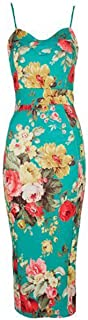 FashionMark New Womens Celeb Floral Tropical Print Bodycon Midi Dress
