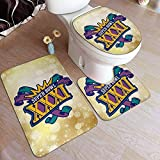 BOBO-Shop Supre Bo-WL XXXI Fashion Juego de Alfombrillas de baño 3 Piezas Juego de alfombras/Juego de Alfombrillas Funda de Asiento de Inodoro Funda de colchón Antideslizante para baño