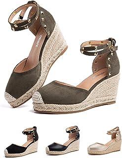 Sandale Femme Compensees Été Espadrille Talon Plateforme Été Chaussure Ferme Boucle de Cheville Confort Mode Noir Marron R...