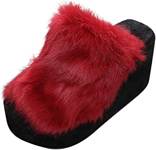 DAIFINEY Damespantoffels plateauschoenen plat platform comfortabele pantoffels knuffelige thuis indoor outdoor slippers vr...