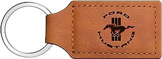 iPick Image - Ford Rectangular Brown Leather Key Chain - Mustang Circle Logo