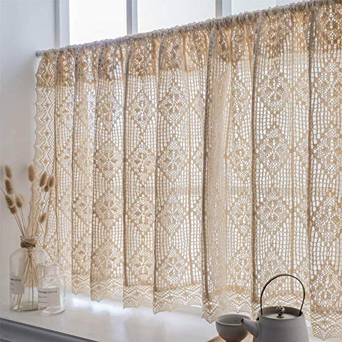Cafe Curtains Media Cortina Crochet Cortina Corta Beige Algodón Natural Cortinas Cocina Cortas Retro Americano Cortinas Pequeñas
