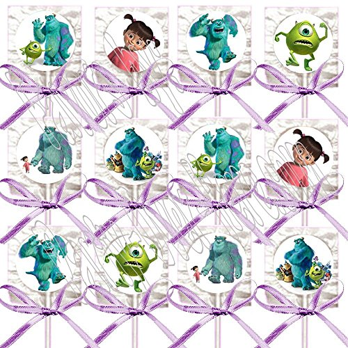 Monsters Inc Party Favors Supplies Decorations Movie Lollipops w/ Lavender Bow Ribbons Party Favors -12 pcs, Sully, Mike, Boo