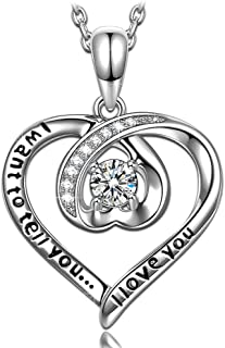 ANGEL NINA ♥I Want to Tell You I Love You♥ Engraved 925 Sterling Silver Sparkling 5A Cubic Zirconia Heart Pendant Necklace...