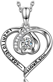 Women Necklace I Want to Tell You I Love You Engraved 925 Sterling Silver Sparkling 5A Cubic Zirconia Heart Pendant Necklace for Women, Gifts for Valentines Elegant Anniversary Jewelry Gift