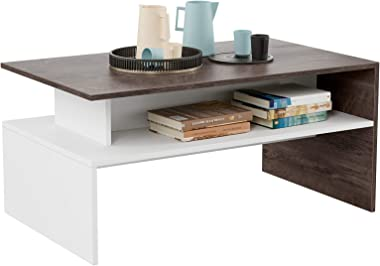 """HOMFA Modern Coffee Table Center Table for Living Room, 35.4"""" Rectangular Table 2-Tier Open Storage Shelf for Sitting Roo"""
