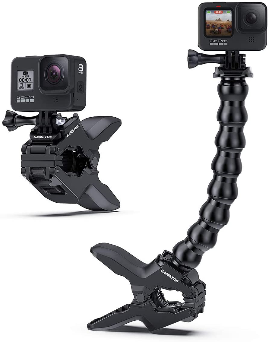 Sametop Jaws Flex Clamp Mount with Adjustable Gooseneck Compatible with GoPro Hero 9, 8, 7, 6, 5, 4, Session, 3+, 3, 2, 1, Max, Hero (2018), Fusion, DJI Osmo Action Cameras