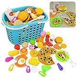 Juegos de imitación, Finer Shop 34 Piezas de Juguetes de cocina Cortar Cesta de Frutas Legumbre Desarrollo de La Primera Infancia - 8005