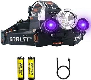 UVヘッドライト、白とUVライト ヘッドランプ USB充電式 UV 紫外線 LED ブラックライトヘッドライト 3モード 偽造のお金/宝石類、オートオイルHVACリーク、ペットの尿、しみ検出器 目には見えない汚れに対策に