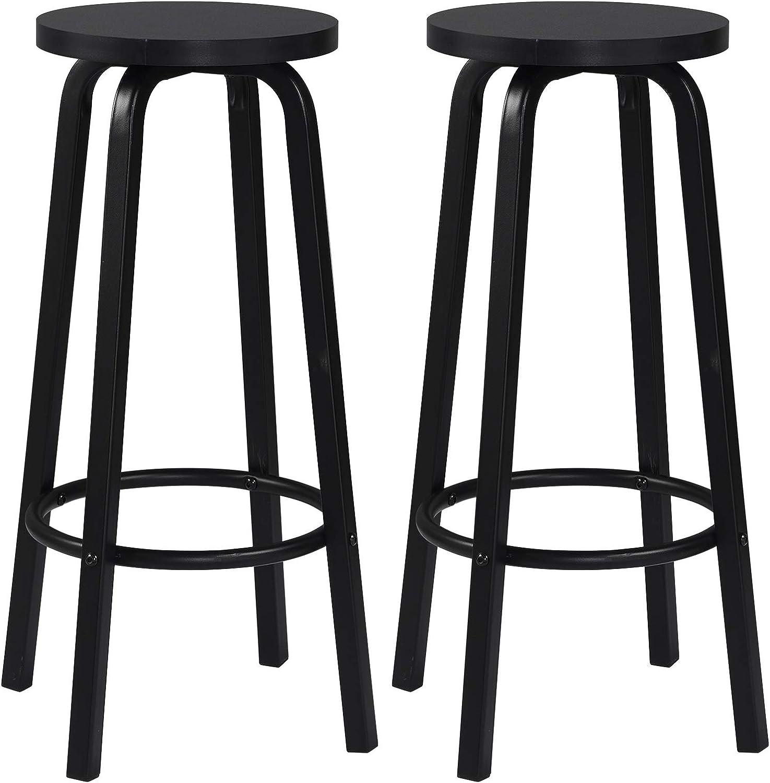 WOLTU BH9sz 9 Bar Stools Set of 9 MDF and Metal Round Seat Black