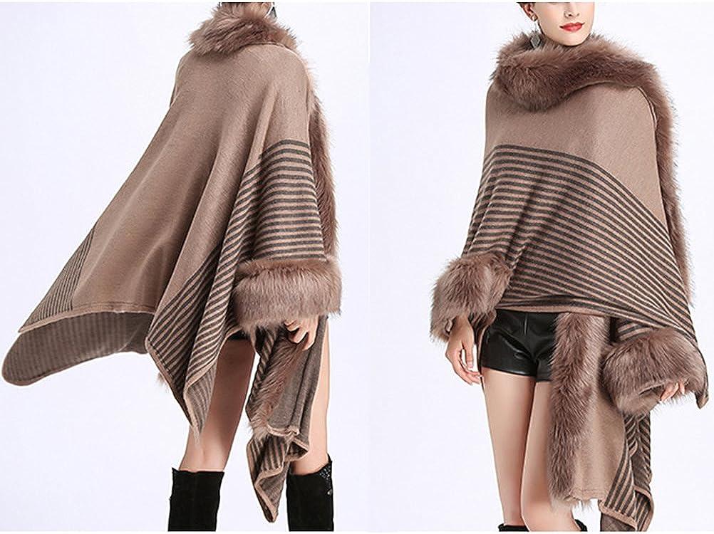 Women's Faux Fur Shawl Wraps Cloak Cardigan Outerwear Coat