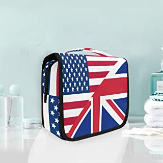 Toiletry Organizer Wash Bag,The British Flag Portable travel bathroom shower bag Deluxe Large Capacity Waterproof Pouch Kit with Hook for Women Men
