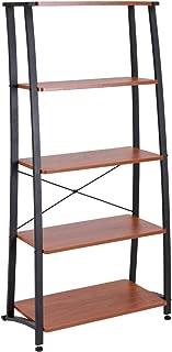 FIVEGIVEN 5 Tier Book Shelf Ladder Bookshelf Leaning Modern Wood Display Office Shelf Sonoma Cherry
