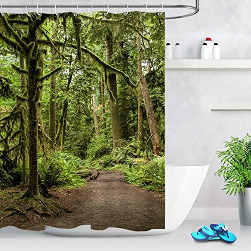/N Ursprünglicher ökologischer grüner Wald-Stoff-Duschvorhang