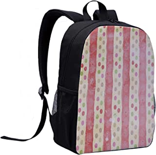 Abstract Versatility Backpack,Retro Stripes and Dots in Watercolor Featured Effects Nostalgic Pattern for Trips,12″L x 5″W x 17″H