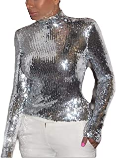 FXLM Womens Sequin Nightclub Fashion Blouse Long-Sleeve Sexy Tees Top